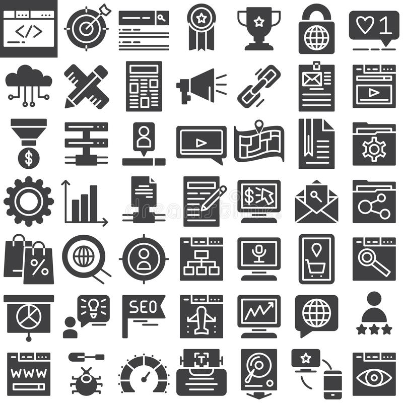 Seo online marketing vector icons set vector illustration