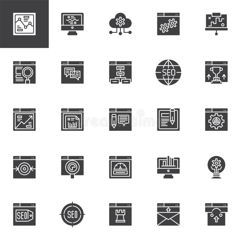 SEO and online marketing vector icons set. Modern solid symbol collection, filled style pictogram pack. Signs, logo illustration. Set includes icons as Cloud royalty free illustration