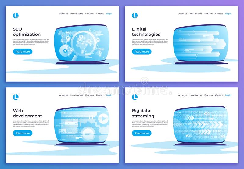 SEO-optimalisering, digitale technologieën, Webontwikkeling, grote dat vector illustratie