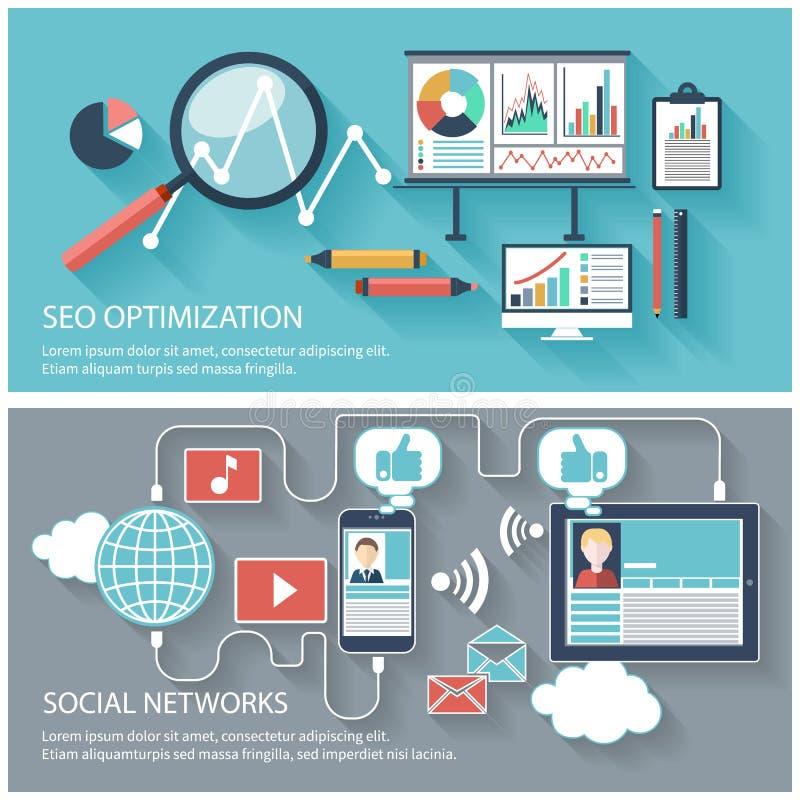 SEO-optimalisering en sociaal netwerk royalty-vrije illustratie