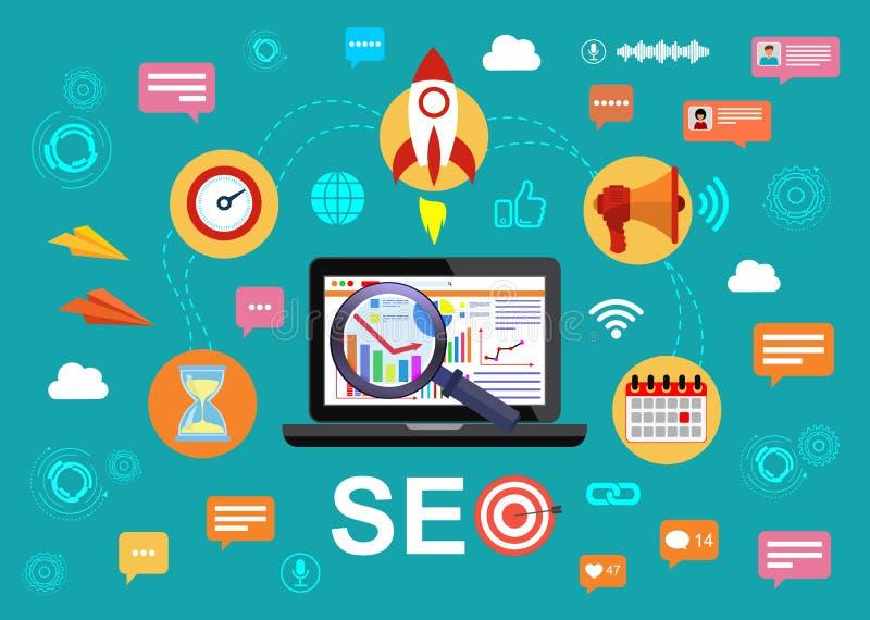 SEO-optimalisering, het ontwerp van Webanalytics Een reeks maatregelen om het zicht van de plaats in zoekmachines voor te verhoge vector illustratie