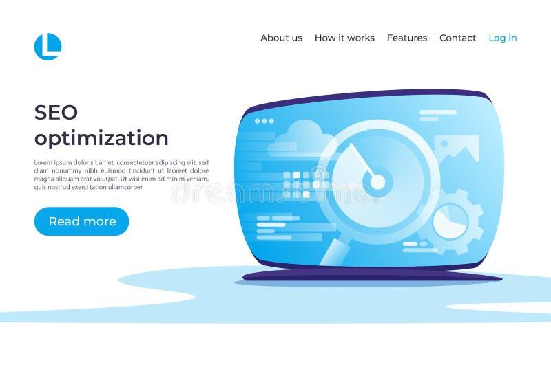 SEO-optimalisering, het vectorconcept van Webanalytics Landende pagina tem royalty-vrije illustratie