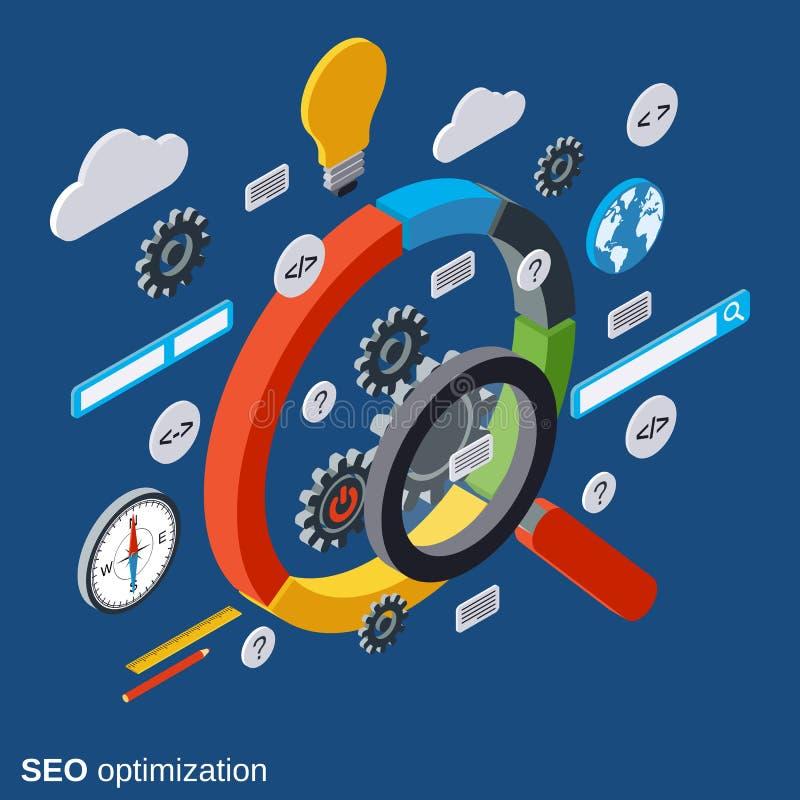 SEO-optimalisering, informatieonderzoek, het vectorconcept van de gegevensanalyse royalty-vrije illustratie