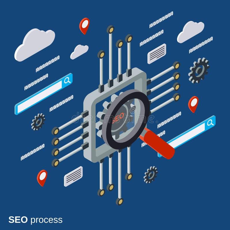 SEO-optimalisering, informatieonderzoek, het vectorconcept van de gegevensanalyse stock illustratie