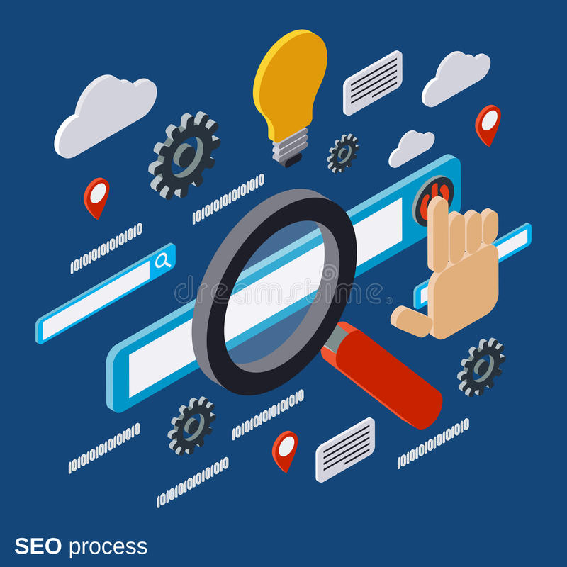 SEO-optimalisering, informatieverwerking, het vectorconcept van het Webonderzoek vector illustratie