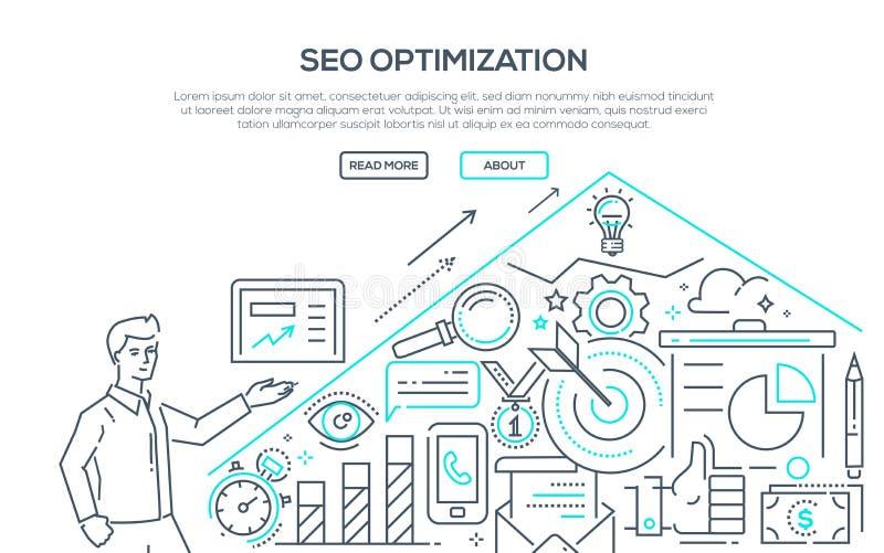 SEO-optimalisering - moderne de stijlillustratie van het lijnontwerp royalty-vrije illustratie