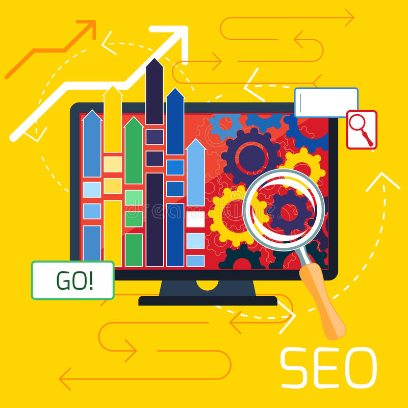 SEO-optimalisering, programmeringsproces stock illustratie