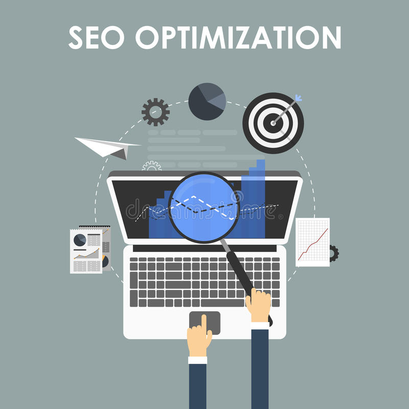 SEO-optimalisering, programmeringsproces vector illustratie