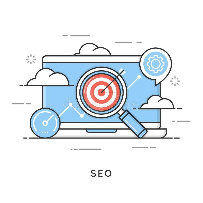SEO, optimisation de moteur de recherche, vente satisfaite, analytics de Web illustration de vecteur