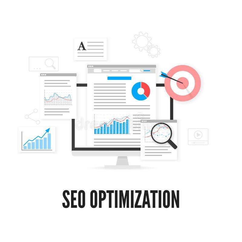 SEO Optimization Concept Netzanalytikdesign Begriffsbild mit Schlüsselwortwolke um SEO Zeichen Auch im corel abgehobenen Betrag stock abbildung