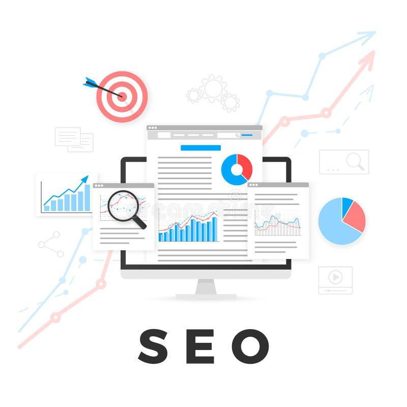 SEO Optimization Concept Optimização do Search Engine Mercado do índice de SEO Projeto da analítica da Web Ilustração do vetor ilustração stock