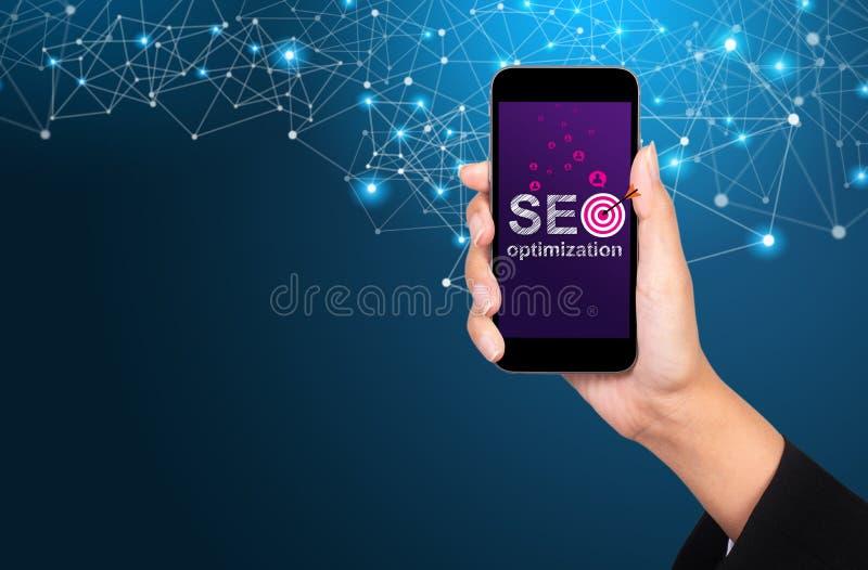 SEO Optimization Concept Ottimizzazione di SEO sullo schermo dello smartphone fotografia stock