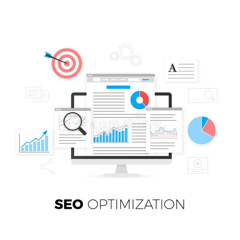 SEO Optimization Concept Suchmaschinen-Optimierungs-Strategie Datenanalytik Zufriedene Entwicklung und Produktion Vektor lizenzfreie abbildung