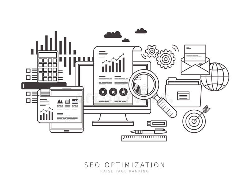 SEO optimization concept. In thin line flat design style vector illustration