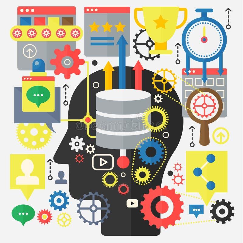 SEO Optimization, développement de Web et concept de technologie informatique de nuage sur le fond principal de silhouette illustration libre de droits