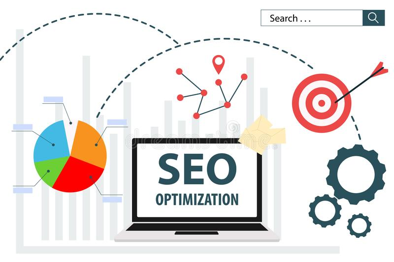 SEO Optimization flat vector illustration web analytics design vector illustration