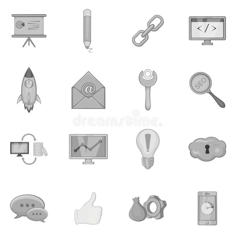 SEO optimization icons set, black monochrome style stock illustration