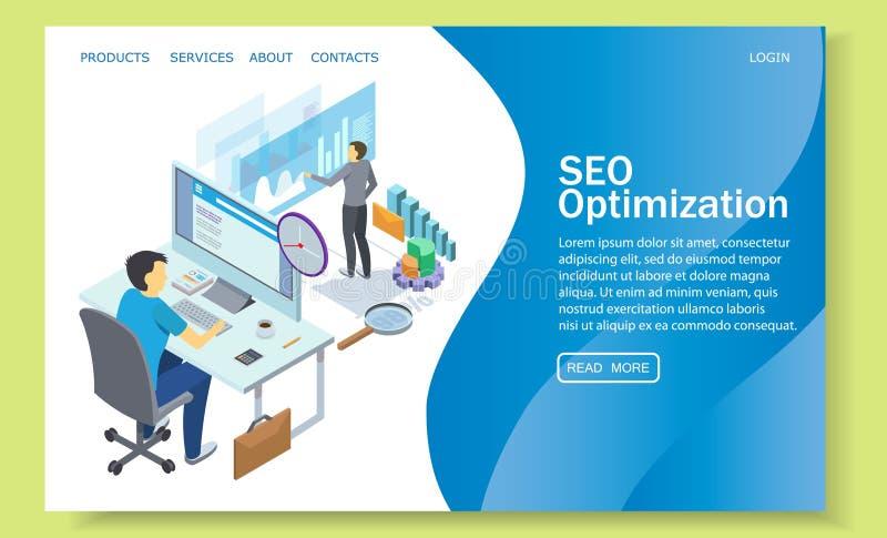 SEO optimization vector website landing page design template stock illustration