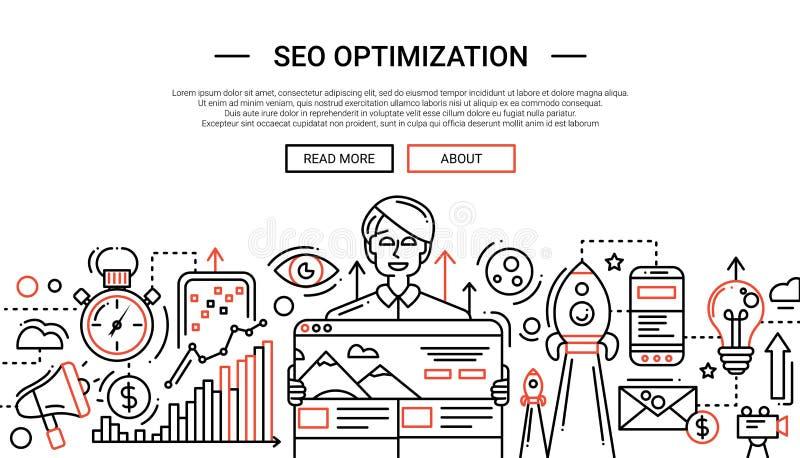 SEO Optimization - linha temlate da bandeira do Web site do projeto ilustração do vetor