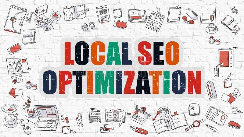 SEO Optimization local em multicolorido Projeto da garatuja ilustração stock