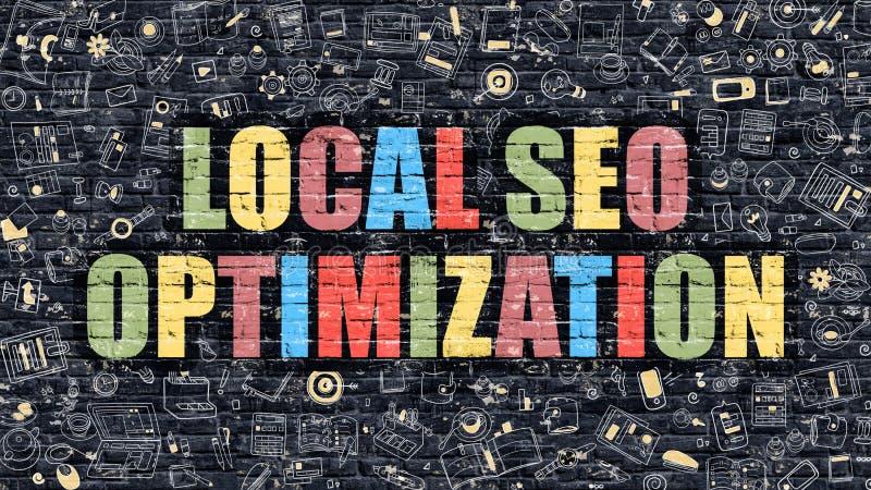 SEO Optimization local multicolorido em Brickwall escuro ilustração do vetor