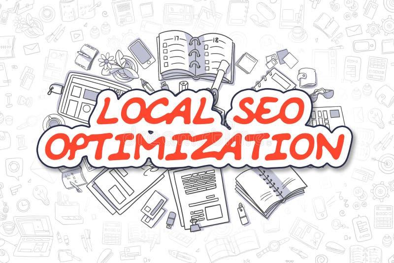 SEO Optimization local - palavra do vermelho da garatuja Conceito do negócio ilustração royalty free