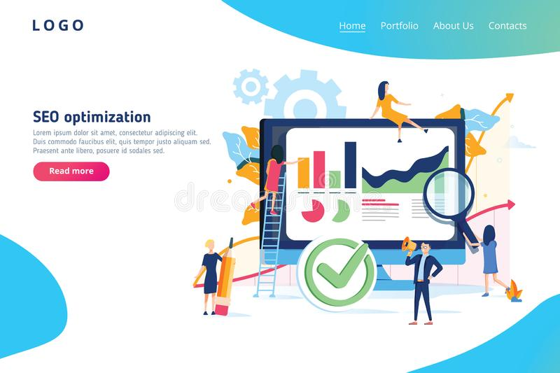 Seo optimization modern flat design isometric concept. Search engine and people concept. Landing page template. Seo optimization modern flat design gradients stock illustration