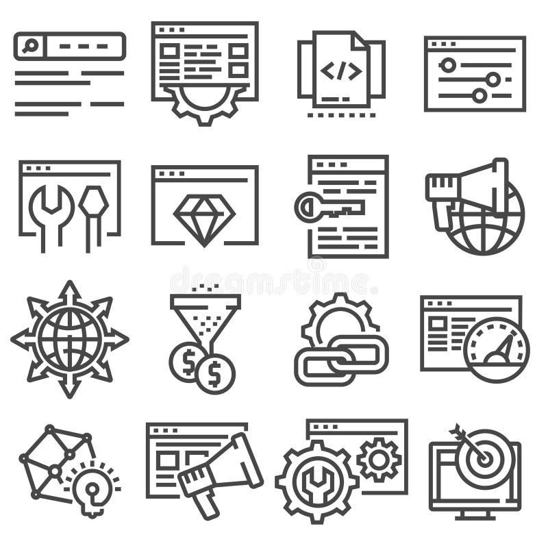 SEO-optimization och att marknadsföra den tunna linjen symboler ställde in royaltyfri illustrationer