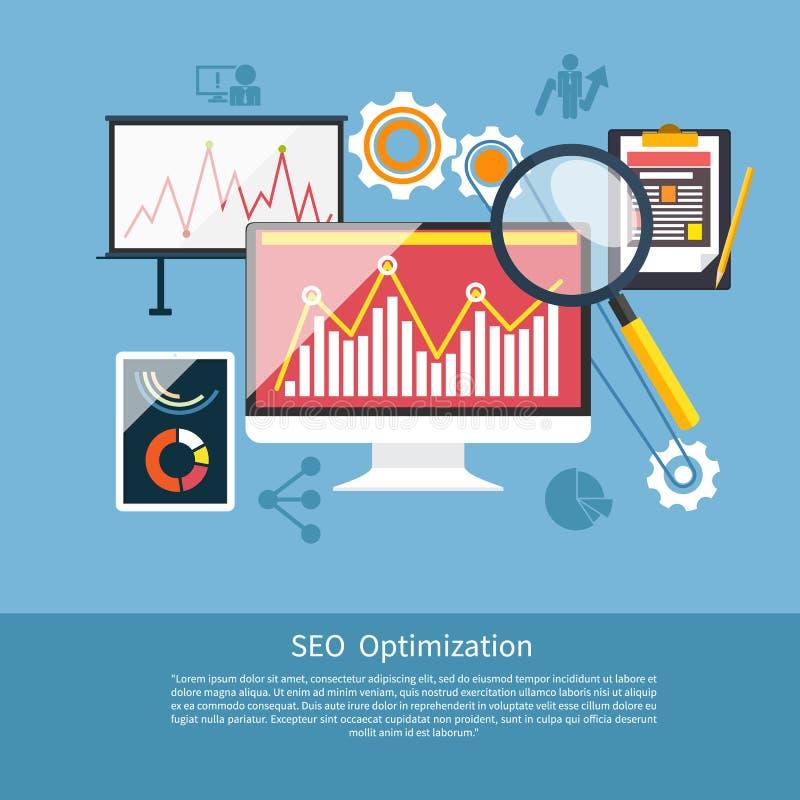 SEO optimization, programming process vector illustration