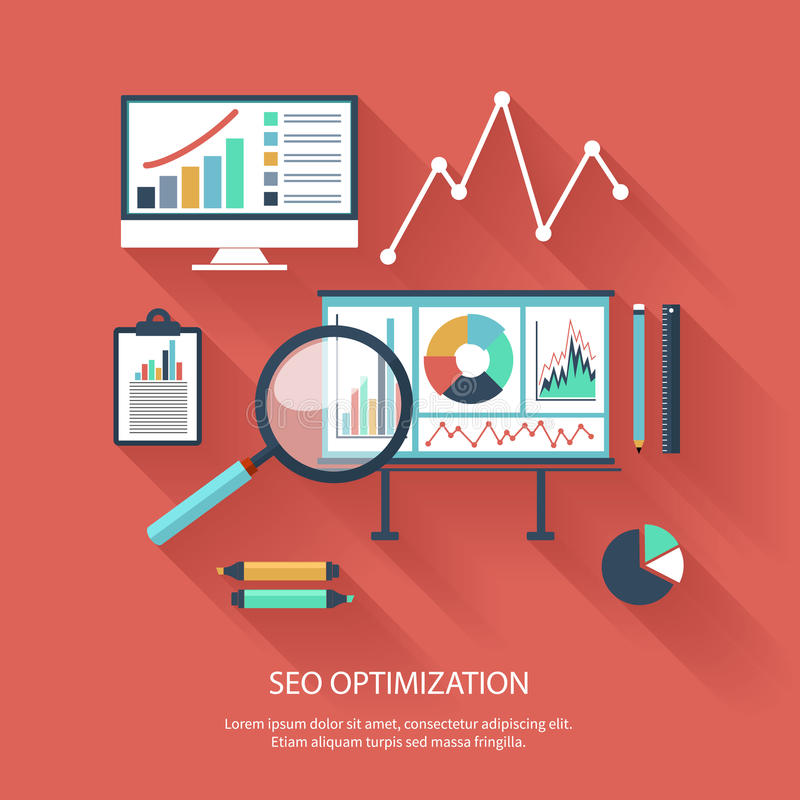SEO-optimization som programmerar process stock illustrationer