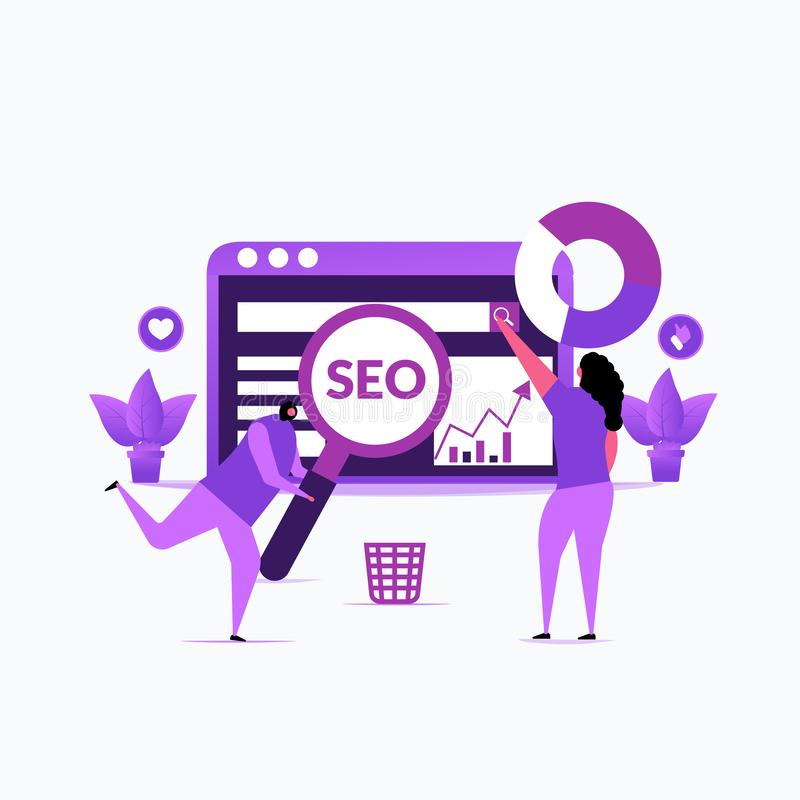 Seo optimization- Vector illustration seo optimization with character stock illustration