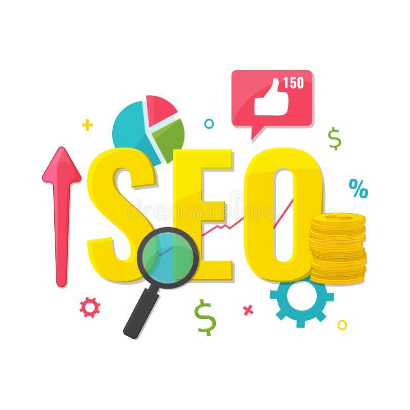 SEO optimization, web analytics concept. stock illustration