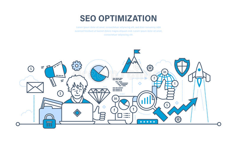 Seo, optimizationmetoder och hjälpmedel, analys, informationsskydd royaltyfri illustrationer