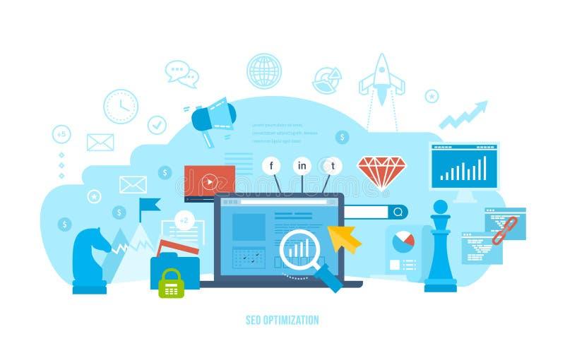 Seo optymalizacja, badanie rynku, analiza, pieniężny występ, osiągnięcie cele royalty ilustracja