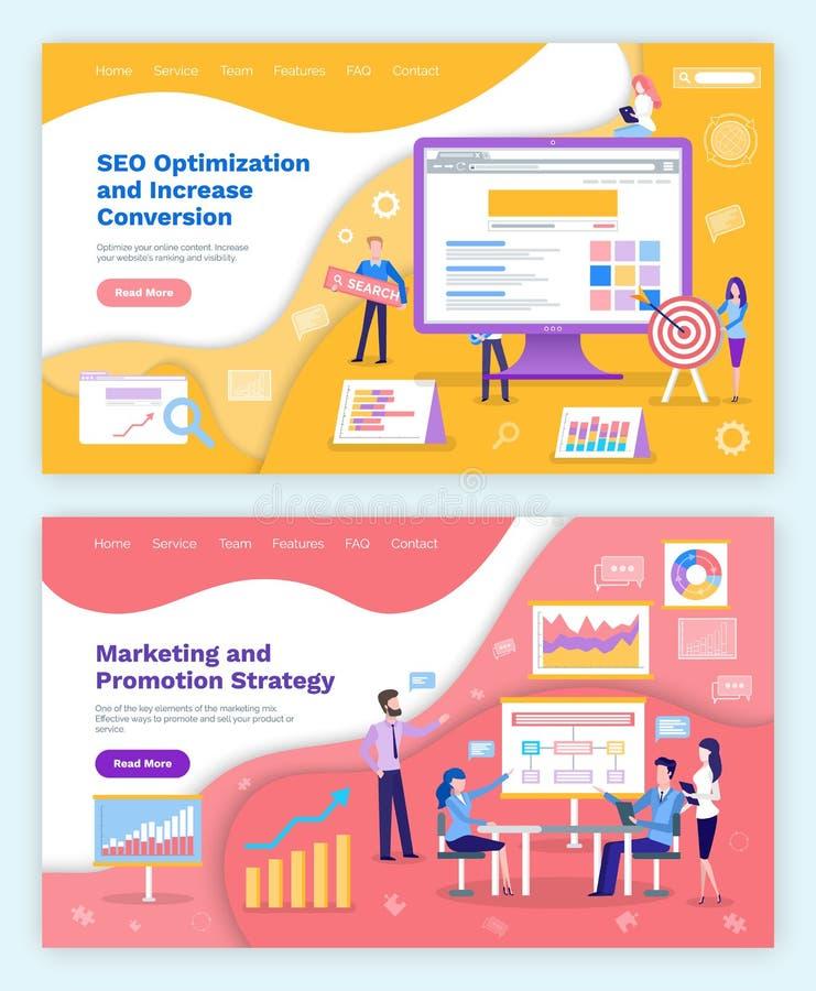 Seo optymalizacja i Marketingowy plan, promocja ilustracji