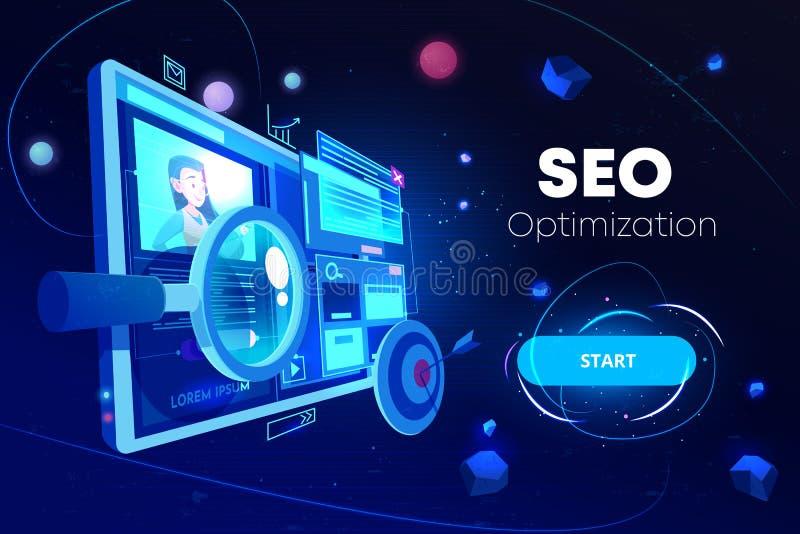Seo optymalizacja, marketingowa biznesowa technologia ilustracji