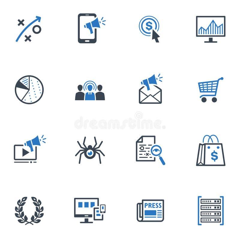SEO & os ícones do mercado do Internet ajustaram 3 - série azul ilustração do vetor