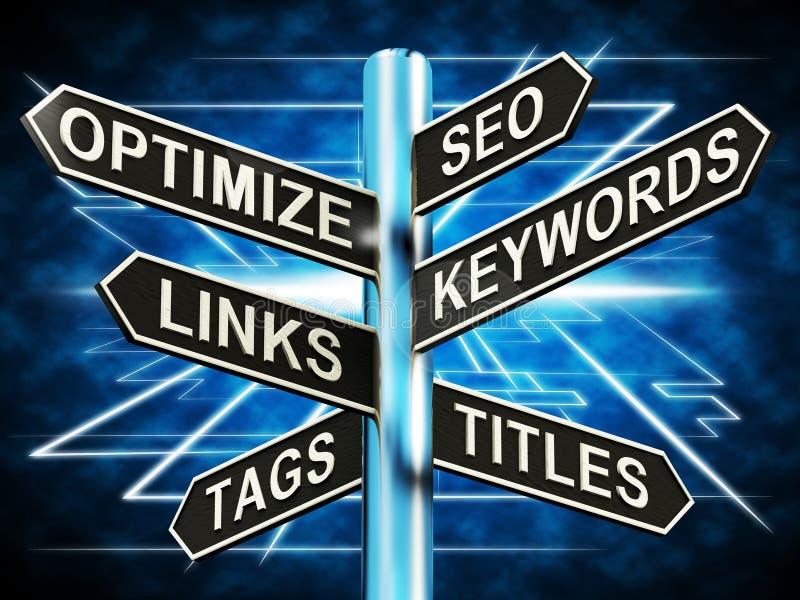Seo Otimize Keywords Links Signpost mostra o Web site 3d Illustrati ilustração royalty free