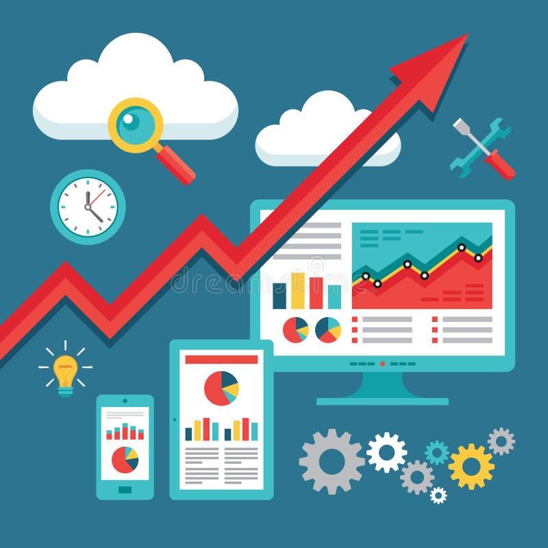 SEO (ottimizzazione del motore di ricerca) che programma - Su-tendenza di affari illustrazione di stock