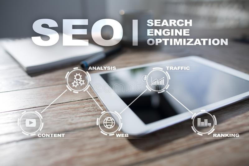 Seo Ottimizzazione di Search Engine Concetto online di tecnologia del andInetrmet di vendita di Digital fotografia stock