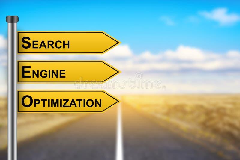 SEO ou mots d'optimisation de moteur de recherche sur le panneau routier jaune photos stock
