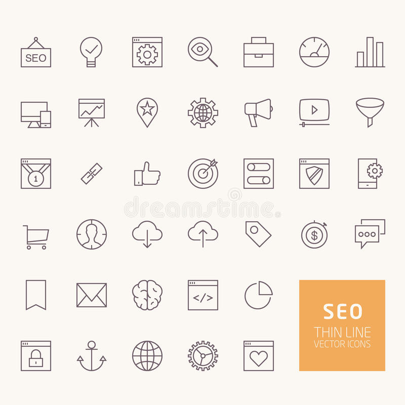 SEO Outline Icons royalty illustrazione gratis