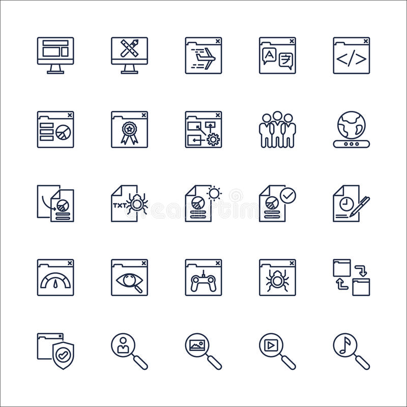 SEO Outline Icons set vector stock illustration