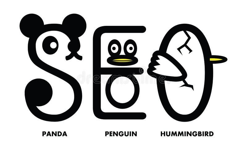 Seo Panda Penguin Hummingbird Update Vector Illustratie