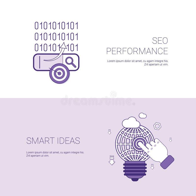 Seo Performance And Smart Ideas-Marketing-Konzept-Schablonen-Netz-Fahne mit Kopien-Raum stock abbildung