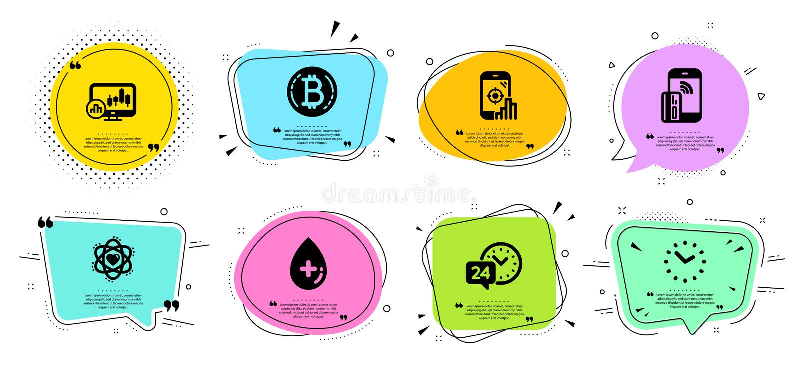 Seo phone, Time and Bitcoin icons set. Oil serum, 24h service and Atom signs. Vector. Seo phone, Time and Bitcoin line icons set. Chat bubbles with quotes. Oil royalty free illustration