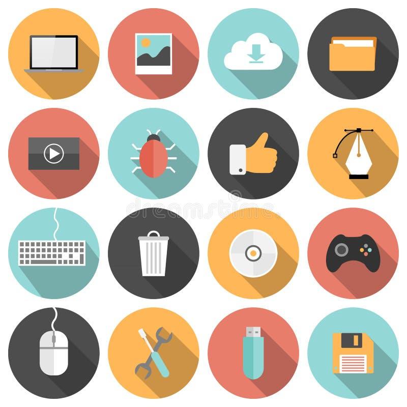 Seo piano, sviluppo, media sociali ed icone del computer illustrazione di stock