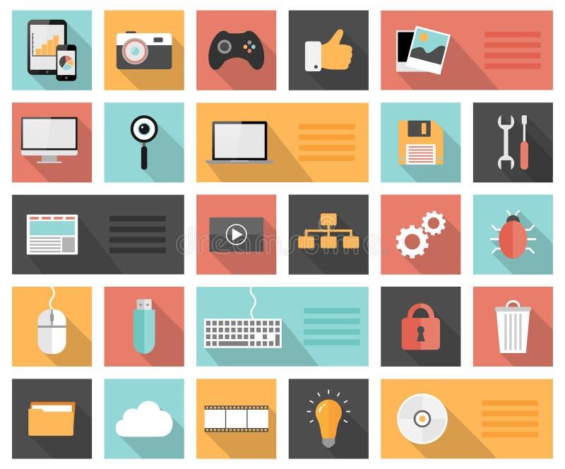 Seo 25 plat, développement, media social et icônes d'ordinateur illustration stock