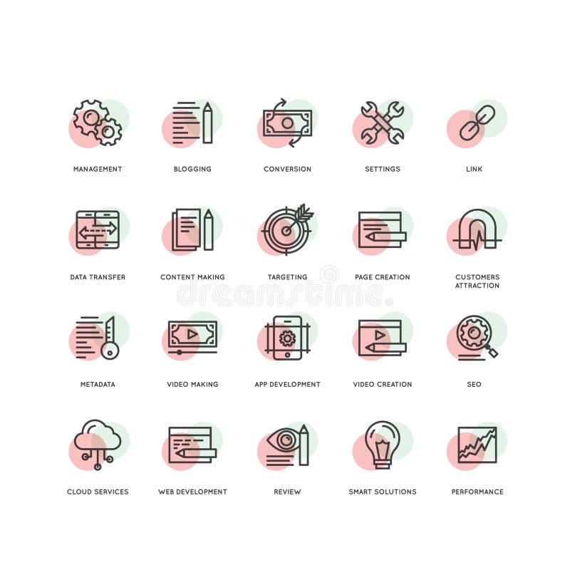SEO, procesy rozwoju, sieć, wiszącej ozdoby zarządzanie, programowanie i cyfrowanie, ilustracja wektor