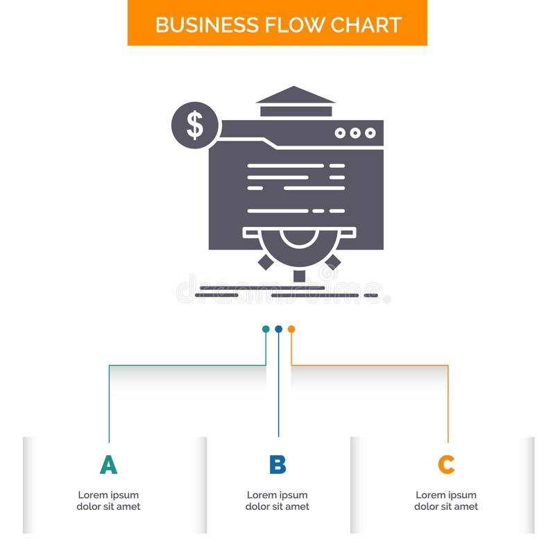 seo, progress, globe, technology, website Business Flow Chart Design with 3 Steps. Glyph Icon For Presentation Background Template vector illustration